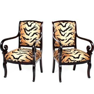 Antique Italian Armchairs With Animal Print - Pair