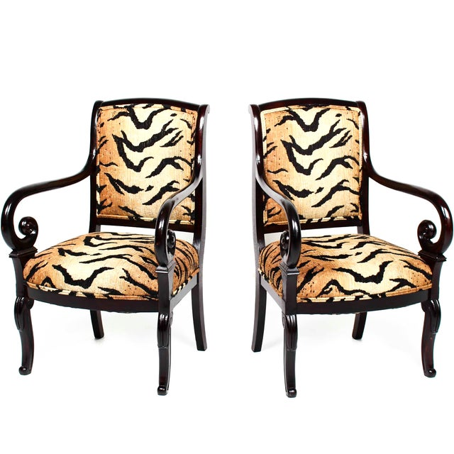 Antique Italian Armchairs With Animal Print - Pair - Image 1 of 5