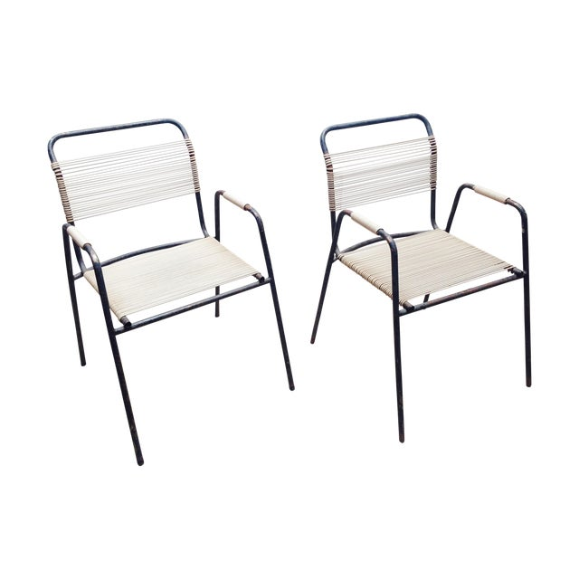 Rare Exterior Corded Ames Aire Arm Chairs - A Pair - Image 1 of 7