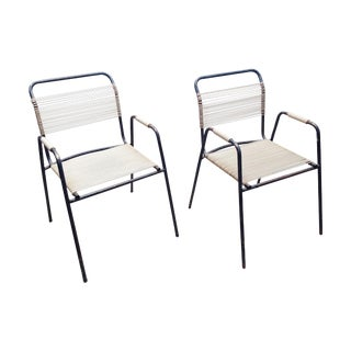 Rare Exterior Corded Ames Aire Arm Chairs - A Pair