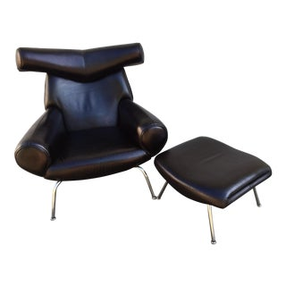 Hans Wegner Ox Lounge Chair With Ottoman - A Pair