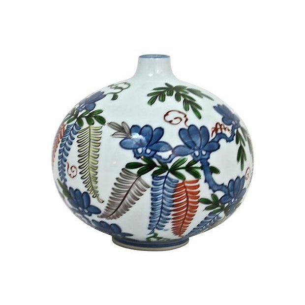Asian Hand-Painted Orb Bud Vase - Image 3 of 7
