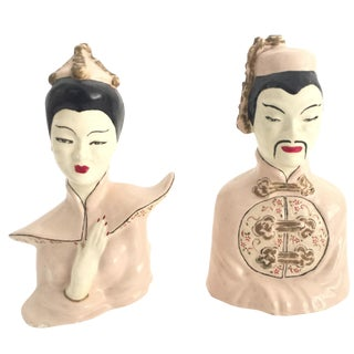 Vintage Asian Pale Pink Figurine Statues - A Pair