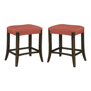 Kristin Drohan Collection Tucks Hermes Orange Stools - A Pair