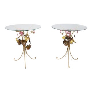 Vintage Italian Floral Tole Painted Metal Round Glass Top Side End Tables - a Pair