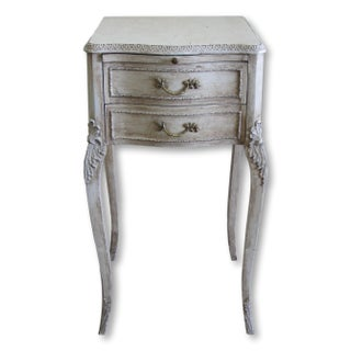 Vintage Shabby Chic French Side Table With Drawers