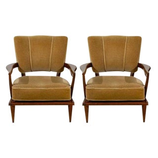 Magnificent Pair of Walnut Lounge Chairs by Etienne Henri Martin