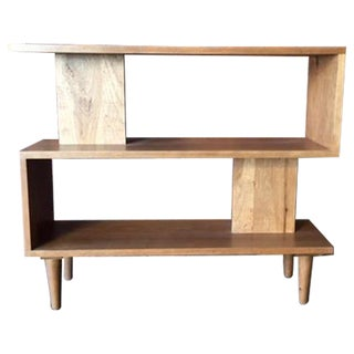 Mid-Century Style Custom Cherry Wood Zig Zag Shelf