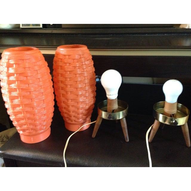Mid-Century Modern Orange Beehive Lamps - A Pair - Image 7 of 7