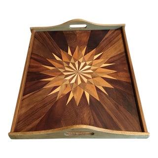 Mid-Century Geometric Teak & Mixed Wood Tray
