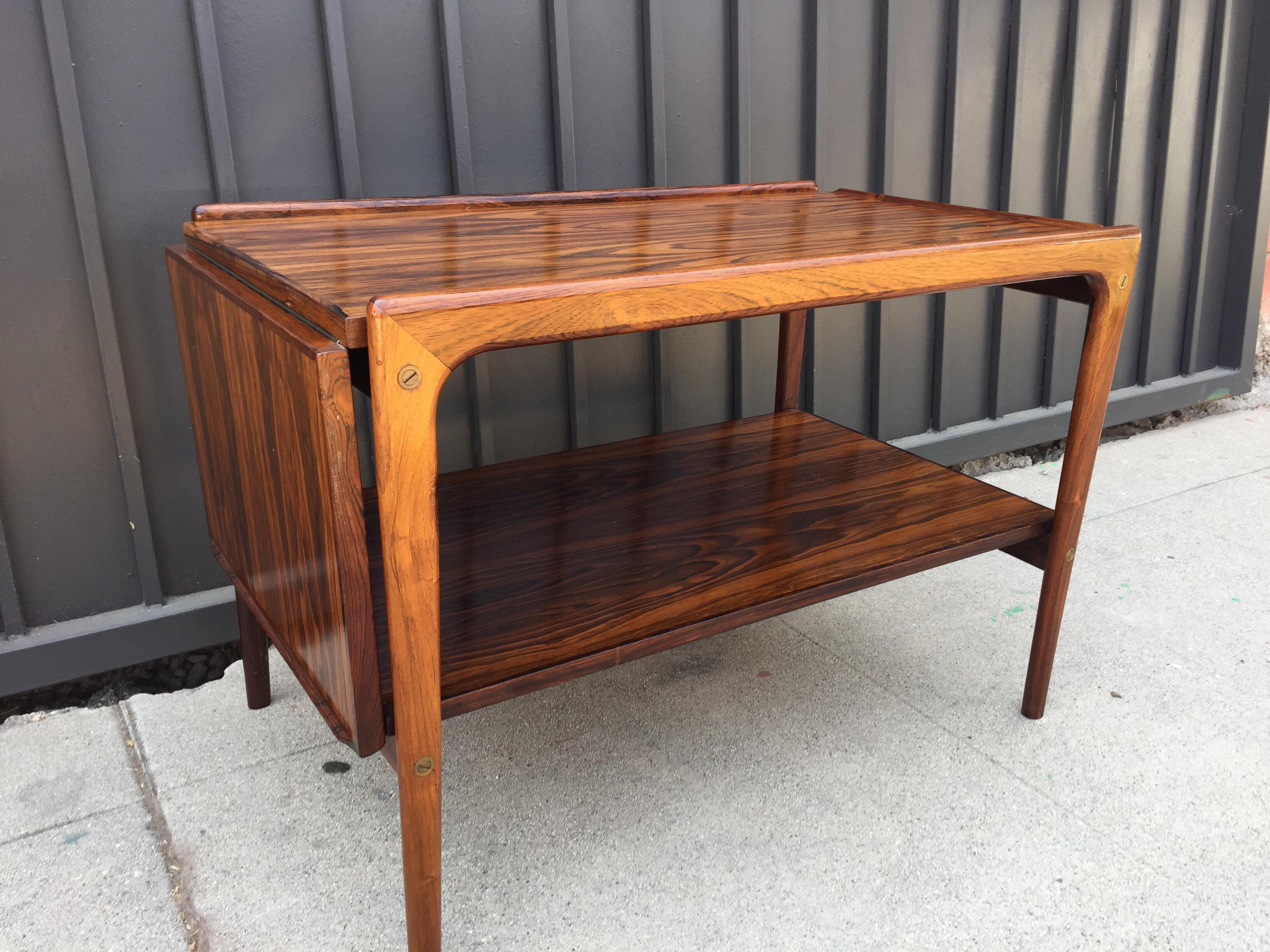 mid century rosewood drop leaf coffee table | chairish