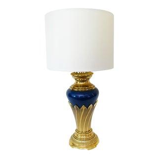 Vintage Blue Art Deco Brass Lamp & Shade