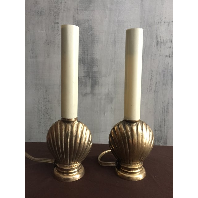 Mid-Century French Brass Seashell Lamps - A Pair - Image 2 of 4