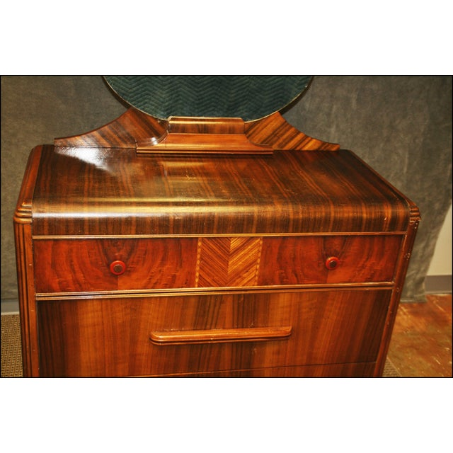 Art Deco Waterfall Dresser With Mirror Chairish