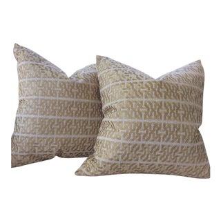 "Kravet Couture Barbara Barry ""Ceylon"" Pillows in Platinum & Cream - a Pair"