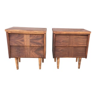 Mid-Century Louvered Nighstands - A Pair