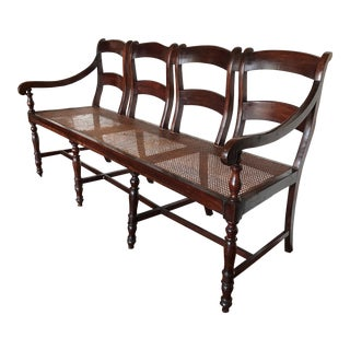 Antique Wood & Cane Four Seat Bench