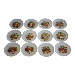 Vintage Set of 12 Porcelain E & R Golden Crown Fruit Plates, Germany