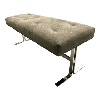Mid-Century Chrome & Tufted Gray Bench