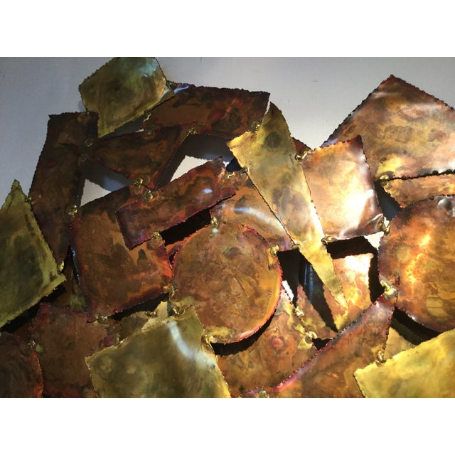 Image of Vintage 1970s Brutalist Mixed Metal Wall Sculpture
