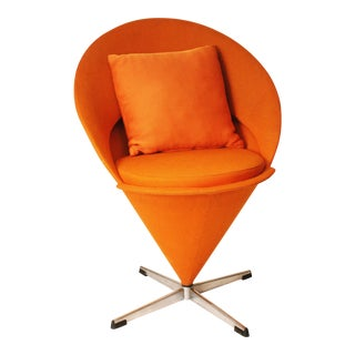 Mid-Century Verner Panton Orange Upholstered Cone Chair