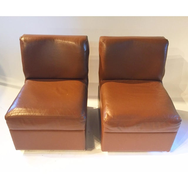 1970s Gucci Leather Slipper Chairs - a Pair - Image 3 of 8