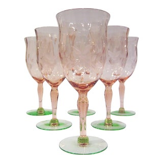 Green & Pink Etched Wine Glasses - Set of 6