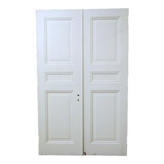 White Wooden Triple Panel Doors - A Pair