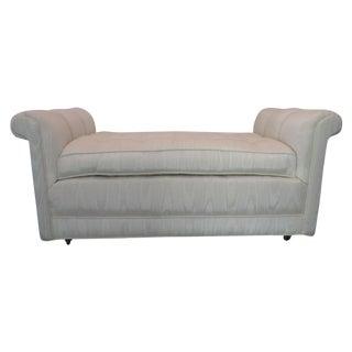 White Silk Upholstered Bench