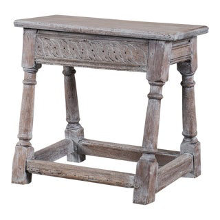 Antique English Limed Oak Joint Stool circa 1890