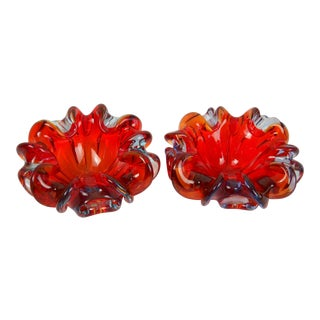 Red Folded-Edge Murano Bowls - A Pair