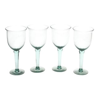 Hand-Blown Pedestal Glasses - Set of 4