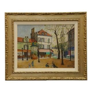 Custom Framed French Village Painting