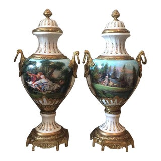 French Louis XVI Porcelain Vases - a Pair