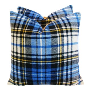 Blue Scottish Tartan Plaid Wool Pillows - a Pair