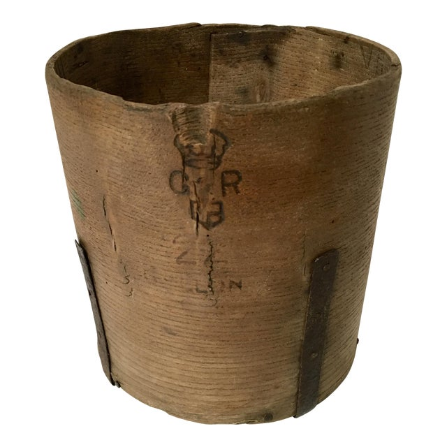 Image of Antique British Hand Crafted Wooden Gallon Grain Holder