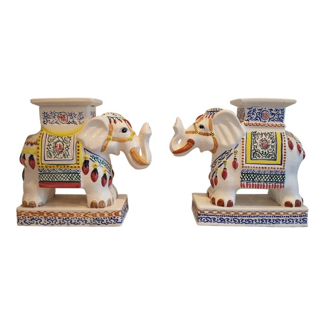 Ceramic Elephant Side Tables - A Pair - Image 1 of 11