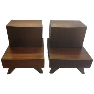 Mid-Century Wooden Bedside / End Tables - A Pair