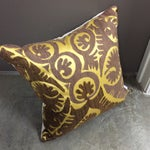 Image of Yellow & Brown Suzani Square Pillow