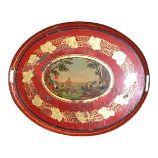 19th C. Empire Red Tole Tray