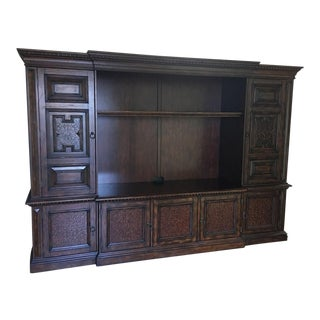 British Colonial Hardwood & Veneer Entertainment Console with Hutch Towers