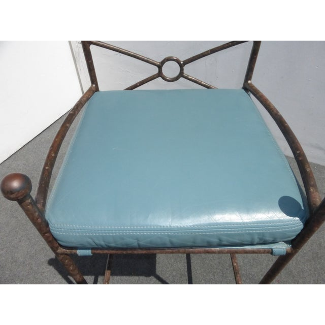 Image of Metal & Turquoise Blue Leather Tall Barstools - 3