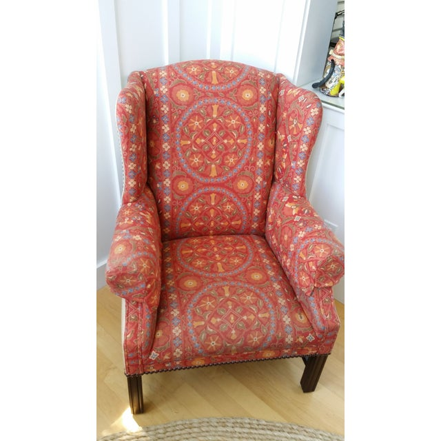 Coral Upholstered Wing Chair Chairish