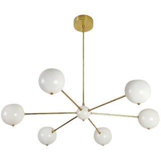 Blueprint Lighting Model 320 Brass & Enamel Chandelier