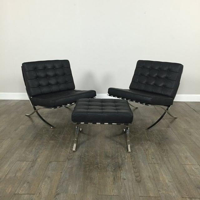 Barcelona Chairs & Ottoman - Set of 3 - Image 2 of 11