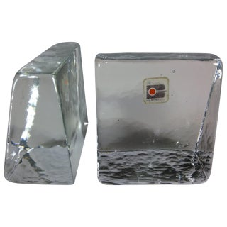 Vintage Blenko Wet Glass Slanted Bookends - A Pair