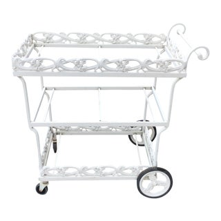 Brown Jordan White Day Lily Bar Cart