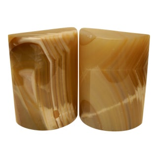 Carved Onyx Stone Cylindrical Sculpture / Bookends - A Pair