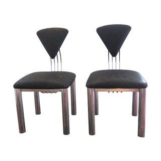 Postmodern Black & Chrome Chairs - a Pair