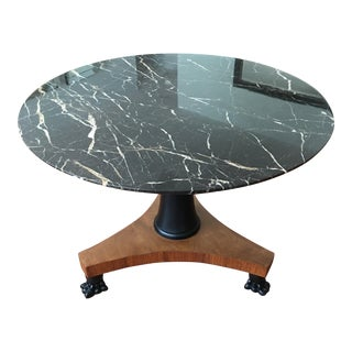 Neoclassical Black Marble Granite Dining Table